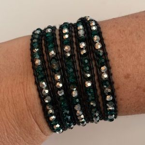 Victoria Emerson Green Crystal Wrap Bracelet
